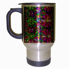 Flower Wall With Wonderful Colors And Bloom Travel Mug (silver Gray)