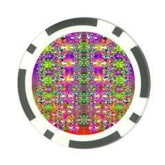 Flower Wall With Wonderful Colors And Bloom Poker Chip Card Guard (10 Pack)