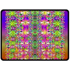 Flower Wall With Wonderful Colors And Bloom Fleece Blanket (large)