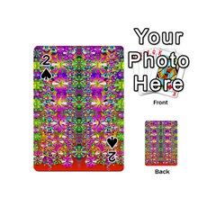 Flower Wall With Wonderful Colors And Bloom Playing Cards 54 (mini)