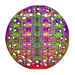 Flower Wall With Wonderful Colors And Bloom Round Filigree Ornament (two Sides)