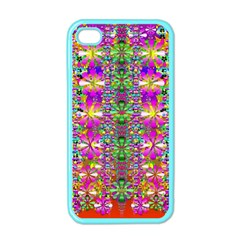 Flower Wall With Wonderful Colors And Bloom Apple Iphone 4 Case (color)