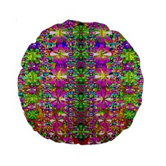 Flower Wall With Wonderful Colors And Bloom Standard 15  Premium Round Cushions