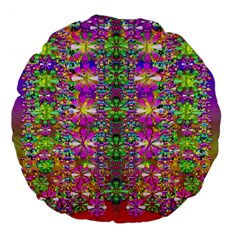 Flower Wall With Wonderful Colors And Bloom Large 18  Premium Flano Round Cushions