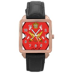 Seal Of The Imperial Iranian Army Aviation  Rose Gold Leather Watch
