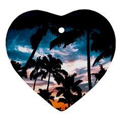 Palm Trees Summer Dream Heart Ornament (two Sides)