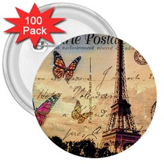 Vintage Paris Carte Postale 3  Buttons (100 Pack)