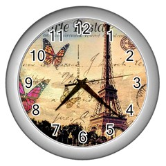 Vintage Paris Carte Postale Wall Clocks (silver)