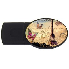 Vintage Paris Carte Postale Usb Flash Drive Oval (4 Gb)