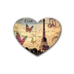 Vintage Paris Carte Postale Heart Coaster (4 Pack)