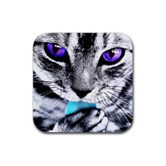 Purple Eyes Cat Rubber Square Coaster (4 Pack)