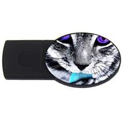 Purple Eyes Cat Usb Flash Drive Oval (4 Gb)