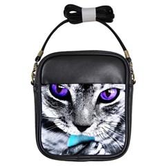Purple Eyes Cat Girls Sling Bags