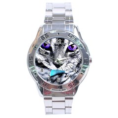 Purple Eyes Cat Stainless Steel Analogue Watch