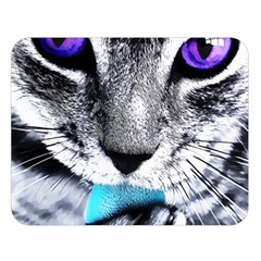 Purple Eyes Cat Double Sided Flano Blanket (large)