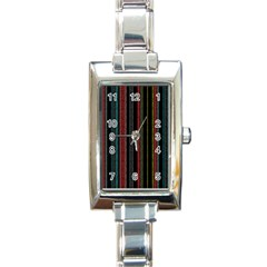 Multicolored Dark Stripes Pattern Rectangle Italian Charm Watch