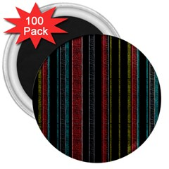 Multicolored Dark Stripes Pattern 3  Magnets (100 Pack)