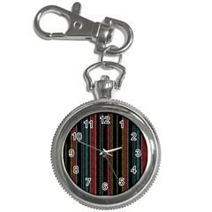 Multicolored Dark Stripes Pattern Key Chain Watches