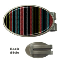 Multicolored Dark Stripes Pattern Money Clips (oval)