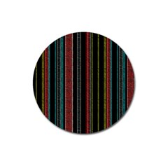 Multicolored Dark Stripes Pattern Magnet 3  (round)