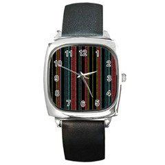 Multicolored Dark Stripes Pattern Square Metal Watch