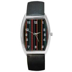 Multicolored Dark Stripes Pattern Barrel Style Metal Watch