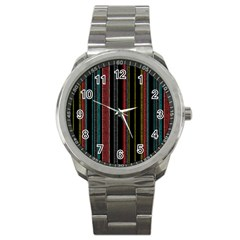 Multicolored Dark Stripes Pattern Sport Metal Watch
