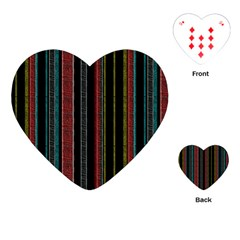 Multicolored Dark Stripes Pattern Playing Cards (heart)
