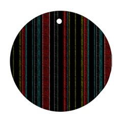 Multicolored Dark Stripes Pattern Round Ornament (two Sides)