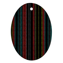 Multicolored Dark Stripes Pattern Oval Ornament (two Sides)