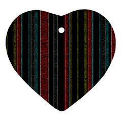 Multicolored Dark Stripes Pattern Heart Ornament (two Sides)
