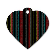Multicolored Dark Stripes Pattern Dog Tag Heart (two Sides)