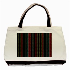 Multicolored Dark Stripes Pattern Basic Tote Bag (two Sides)