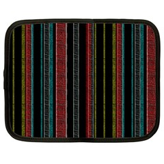 Multicolored Dark Stripes Pattern Netbook Case (large)