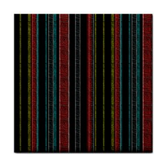 Multicolored Dark Stripes Pattern Face Towel