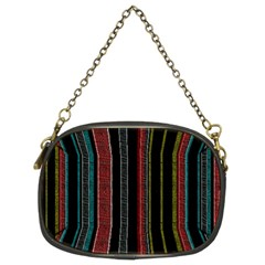 Multicolored Dark Stripes Pattern Chain Purses (two Sides)