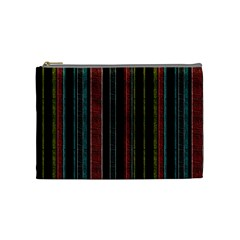 Multicolored Dark Stripes Pattern Cosmetic Bag (medium)