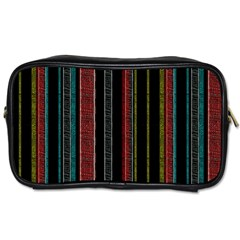 Multicolored Dark Stripes Pattern Toiletries Bags 2 Side