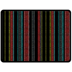 Multicolored Dark Stripes Pattern Fleece Blanket (large)