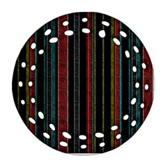Multicolored Dark Stripes Pattern Ornament (round Filigree)
