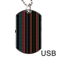 Multicolored Dark Stripes Pattern Dog Tag Usb Flash (one Side)