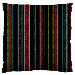 Multicolored Dark Stripes Pattern Large Cushion Case (two Sides)