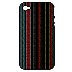 Multicolored Dark Stripes Pattern Apple Iphone 4/4s Hardshell Case (pc+silicone)