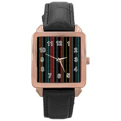 Multicolored Dark Stripes Pattern Rose Gold Leather Watch
