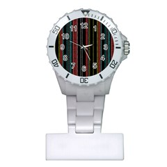 Multicolored Dark Stripes Pattern Plastic Nurses Watch