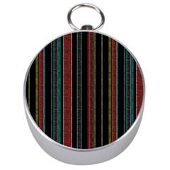 Multicolored Dark Stripes Pattern Silver Compasses