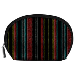 Multicolored Dark Stripes Pattern Accessory Pouches (large)
