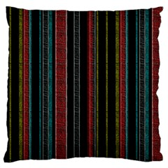 Multicolored Dark Stripes Pattern Large Flano Cushion Case (two Sides)