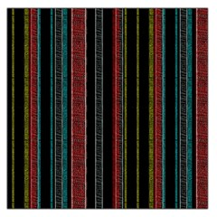 Multicolored Dark Stripes Pattern Large Satin Scarf (square)