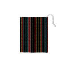 Multicolored Dark Stripes Pattern Drawstring Pouches (xs)